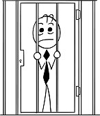 Cartoon Illustration of Business Man in Prison