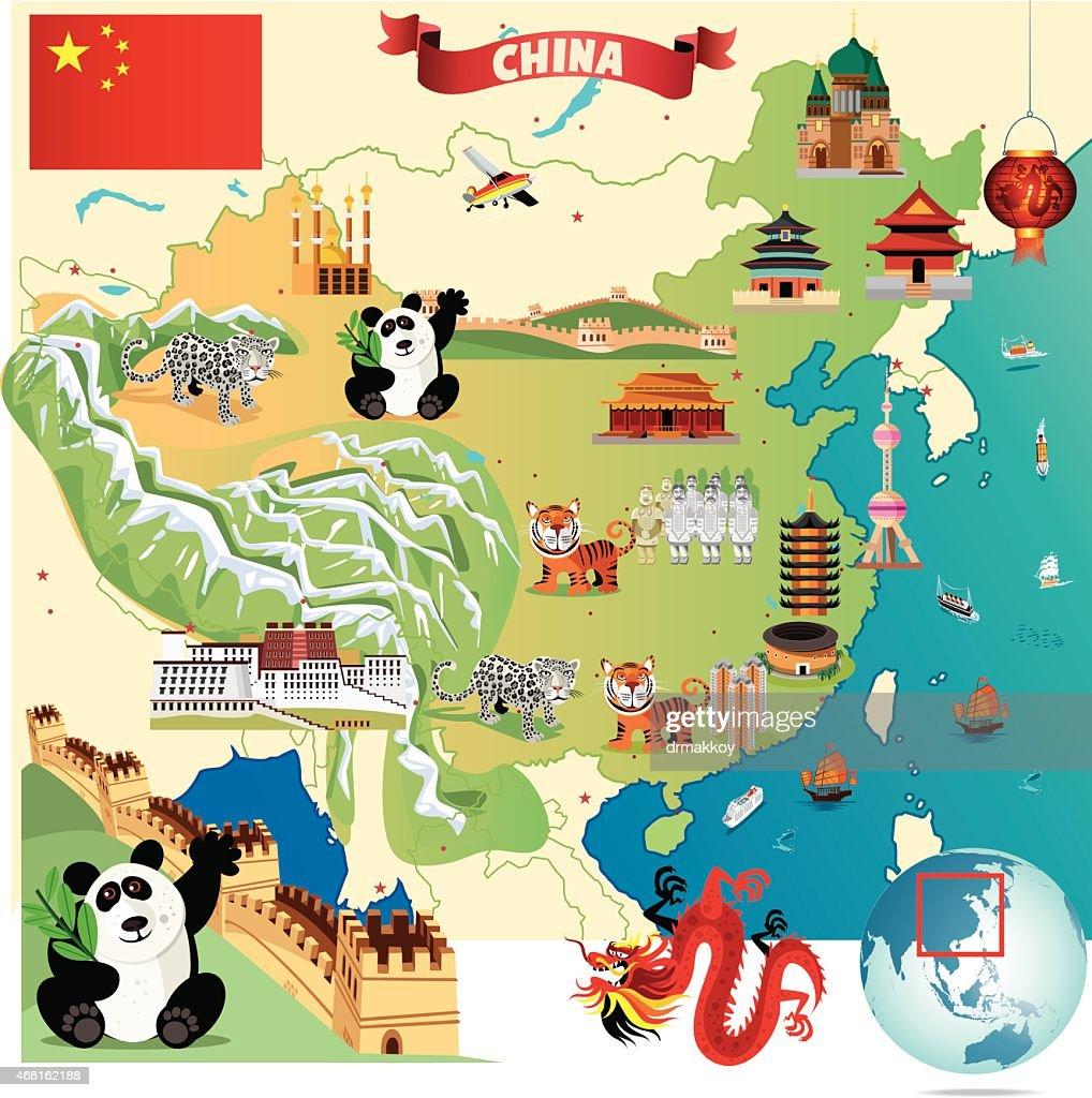 Cartoon illustration of China with dragon, tigers and pandas