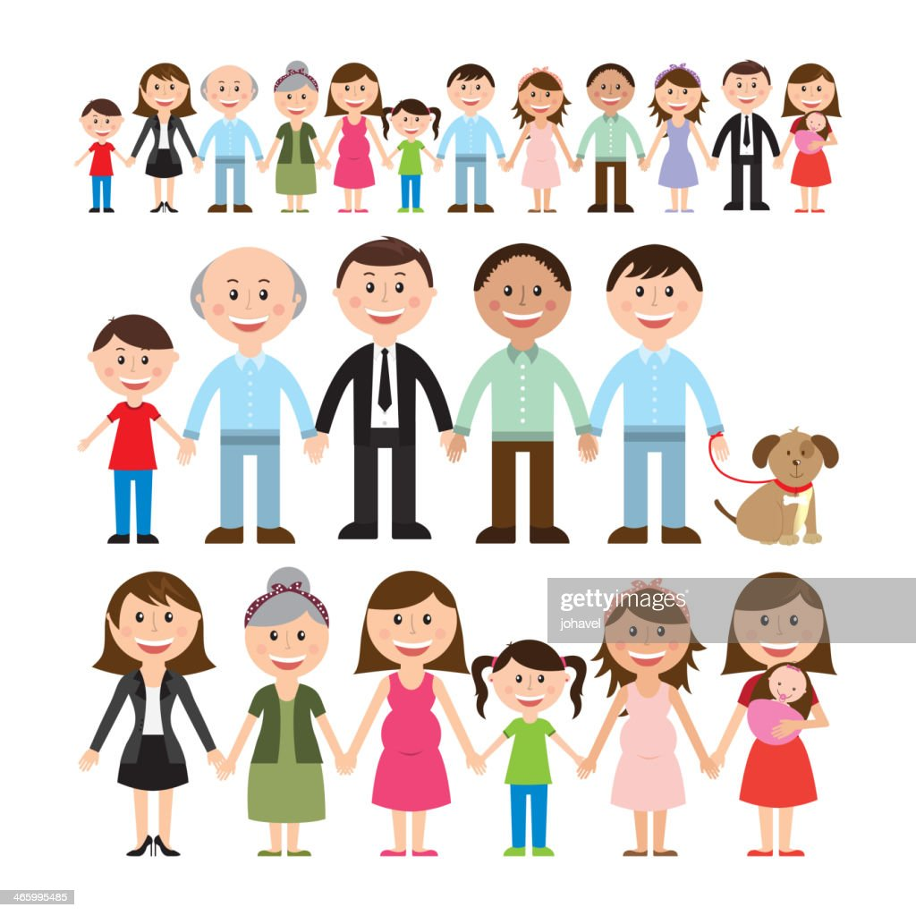 Cartoon illustration of different family members