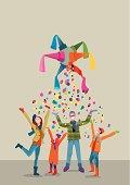 Cartoon illustration of family celebrating