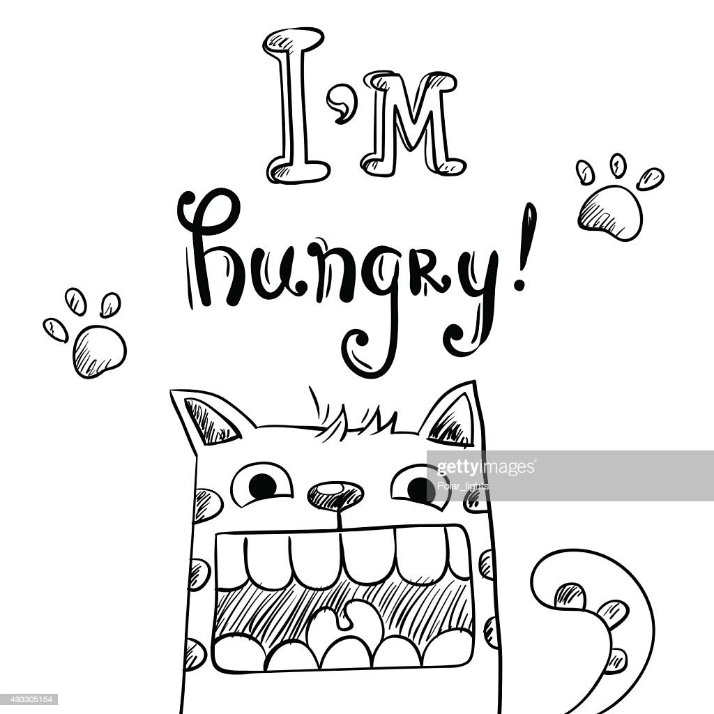 Cartoon illustration of hungry cat with huge mouth