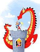 Cartoon illustration of knight saving princess from dragon