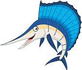 Cartoon illustration of marlin fish cartoon