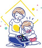 Cartoon illustration of mother and daughter playing tablet device together