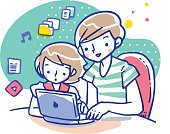 Cartoon illustration of mother teaching daughter how to use computer