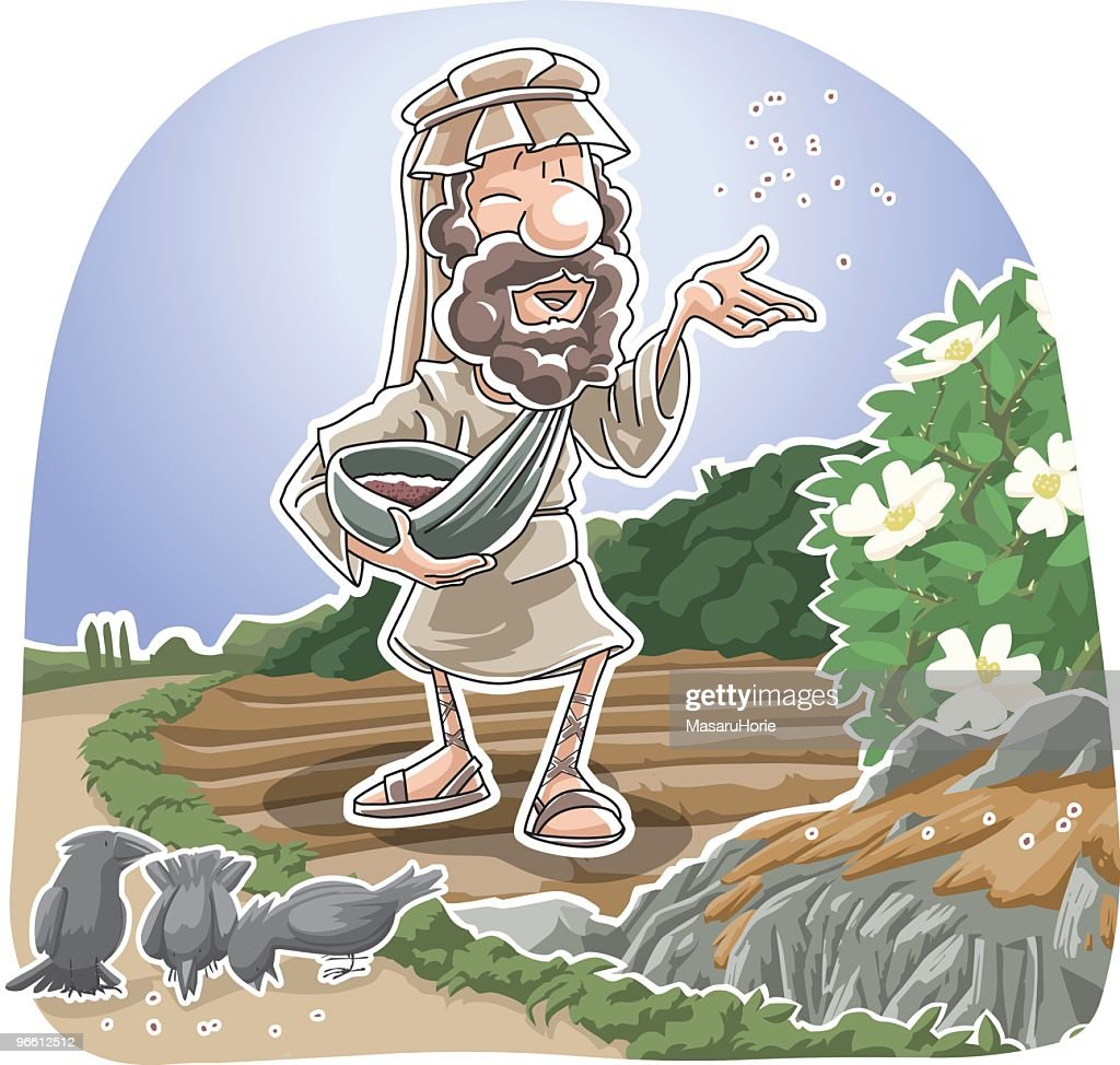Cartoon illustration of mythical Bible story of the Sower