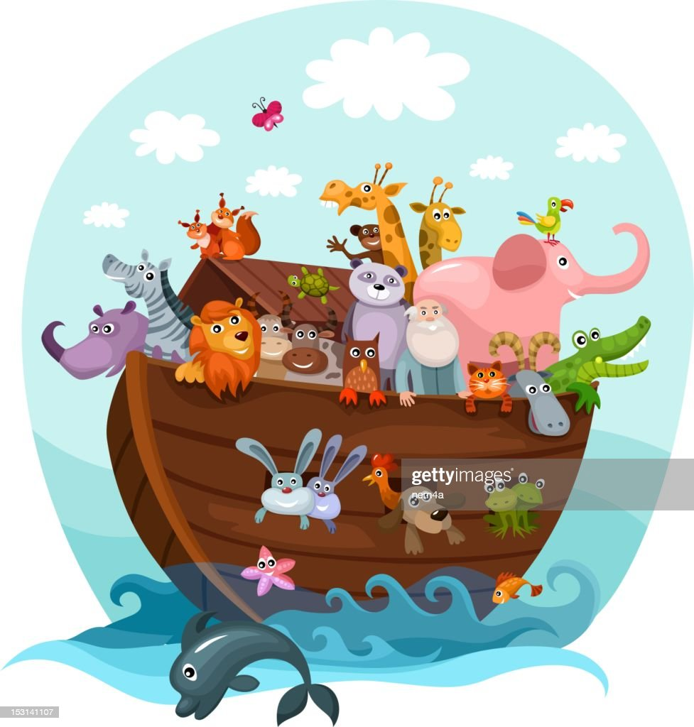 Cartoon illustration of Noah's Ark with all kinds of animals