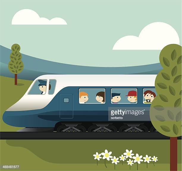 Cartoon illustration of people on a train in the country