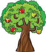 Cartoon illustration of red and green apple tree