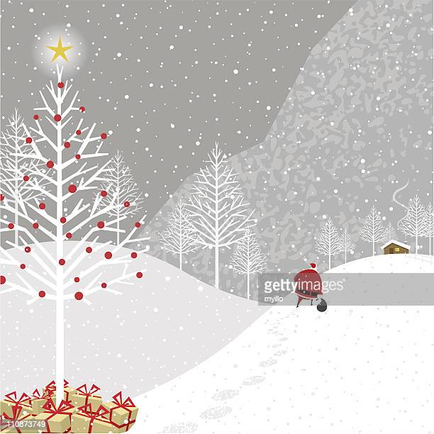 Cartoon illustration of Santa Claus delivering presents