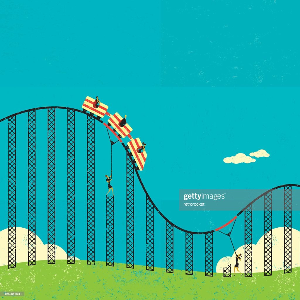 Cartoon illustration of supports in a roller coaster
