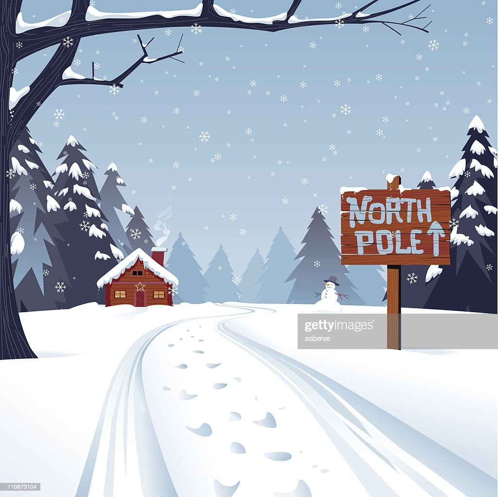 Cartoon illustration of the north pole with trees and snow : stock illustration