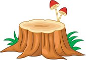Cartoon illustration of tree stump and mushroom