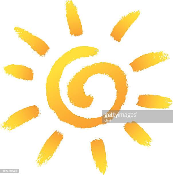 Cartoon illustration of yellow sun upon white background