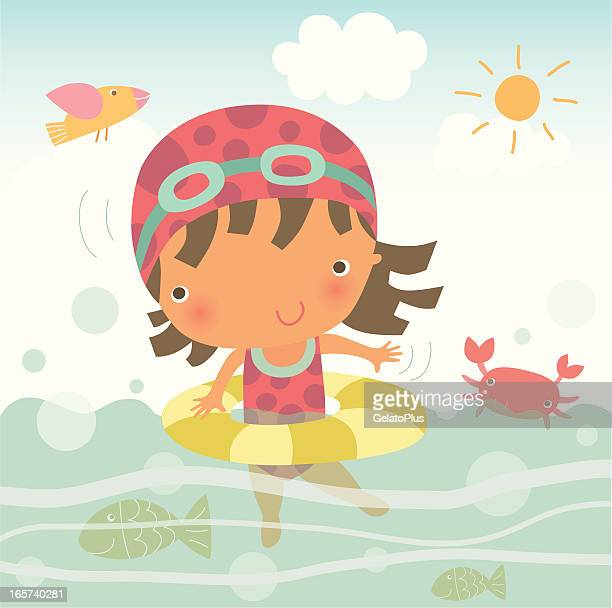 Cartoon illustration of young girl swimming in the ocean