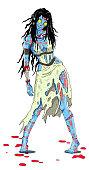 Cartoon illustration of zombi girl