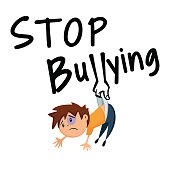 Cartoon illustration telling people to stop bullying