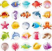 Cartoon illustrations of multicolored ocean creatures