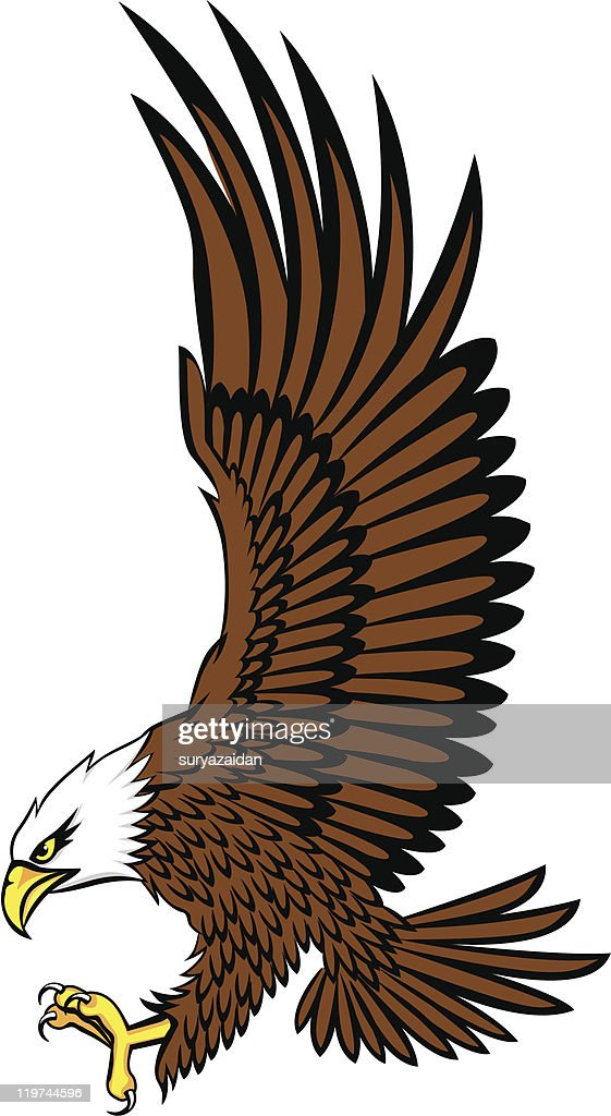Cartoon image of a bald eagle reaching out its claws