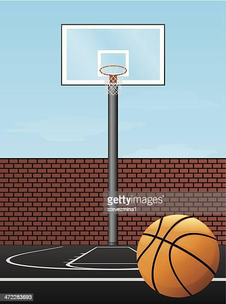 cartoon image of a basketball hoop and ball