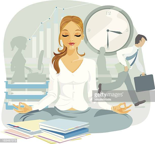a cartoon image of a blond female doing power yoga - hysteria stock illustrations