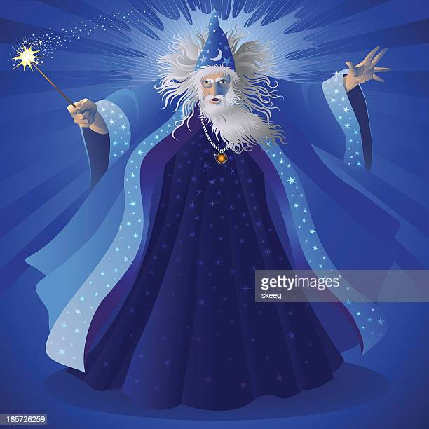 a cartoon image of a blue wizard with a white beard - wizard stock illustrations, clip art, cartoons, & icons
