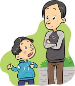 Cartoon image of a boy asking a question to his father