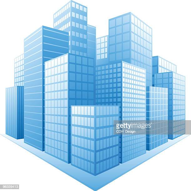 Cartoon image of a city with blue buildings