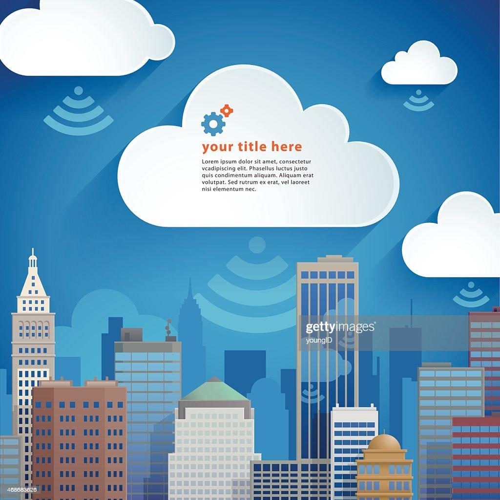 Nuvem Cloud cidade : Ilustração