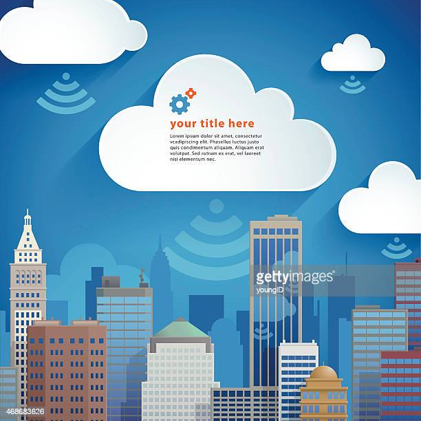 a cartoon image of a city with clouds - cloudscape stock illustrations, clip art, cartoons, & icons