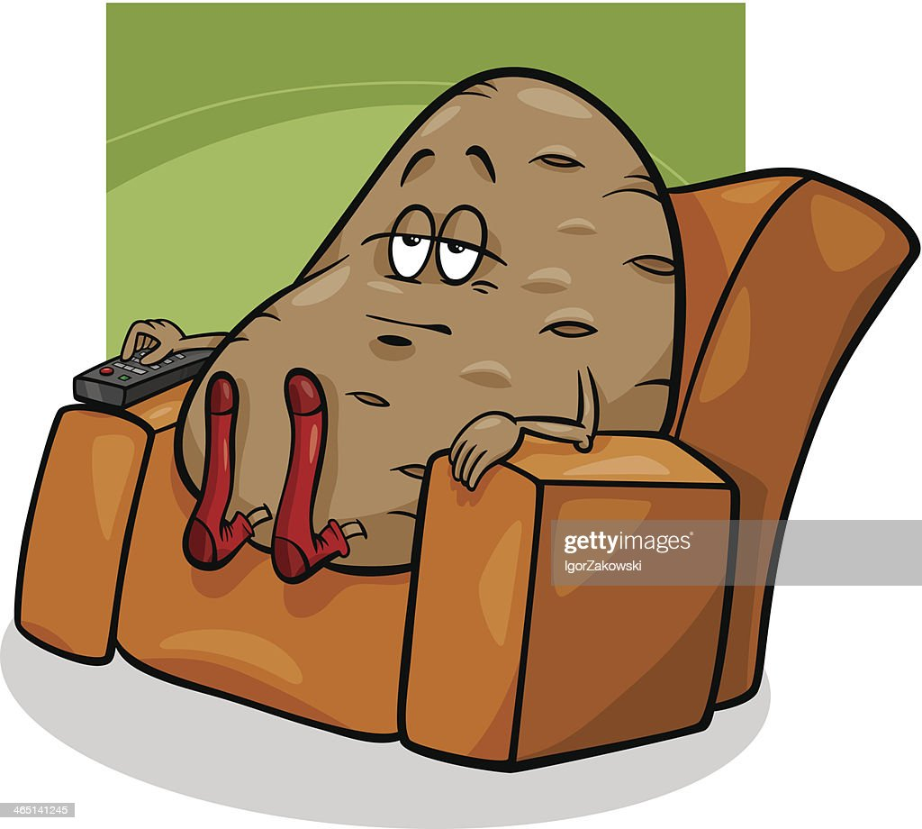 Cartoon image of a couch potato