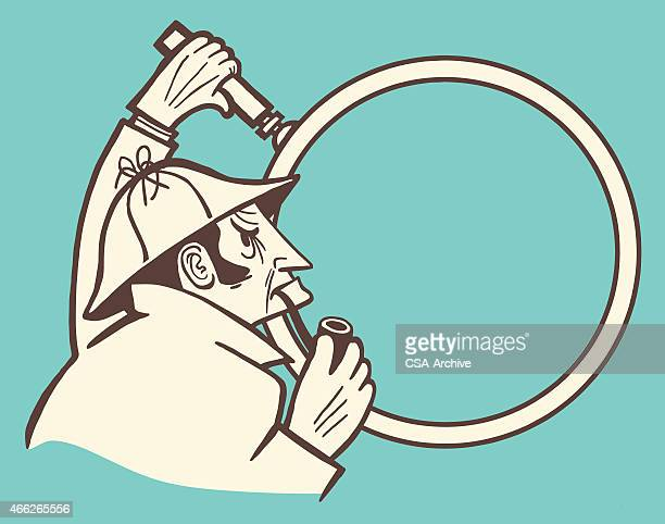 cartoon image of a detective with pipe and magnifying glass - inspector stock illustrations, clip art, cartoons, & icons