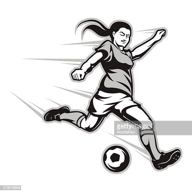 cartoon image of a female football player striking the ball - women's soccer stock illustrations