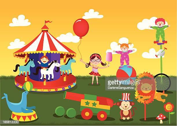 Cartoon image of a fun amusement park