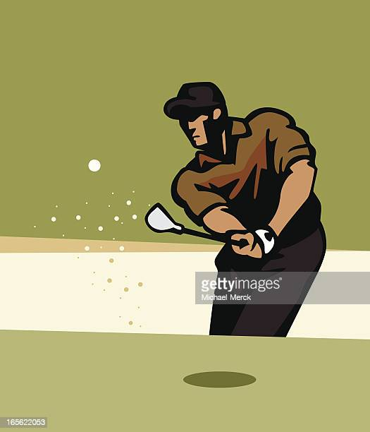 A cartoon image of a golfer in a sand trap