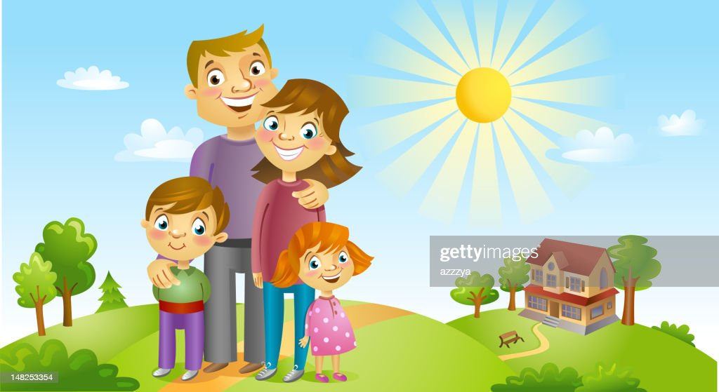 A cartoon image of a happy family