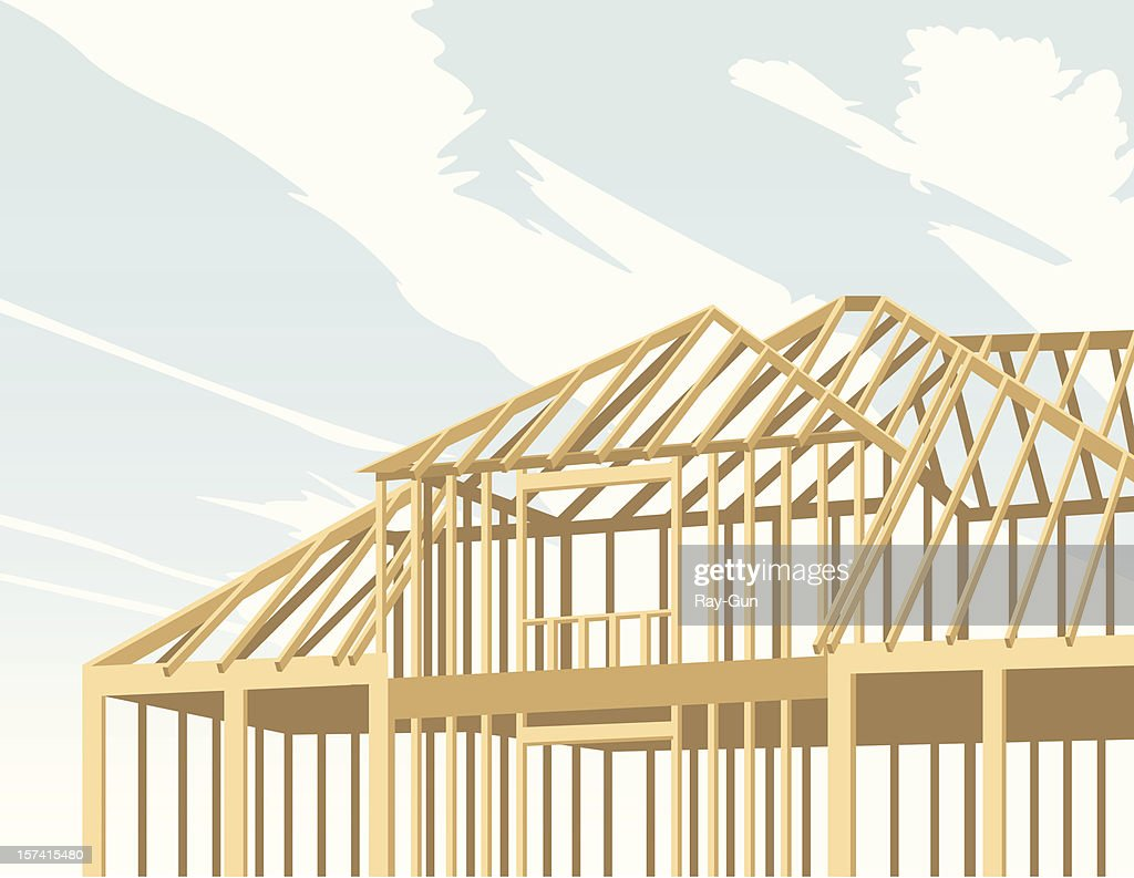 A cartoon image of a house being built with wood