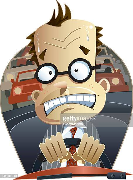 A cartoon image of a man driving in traffic