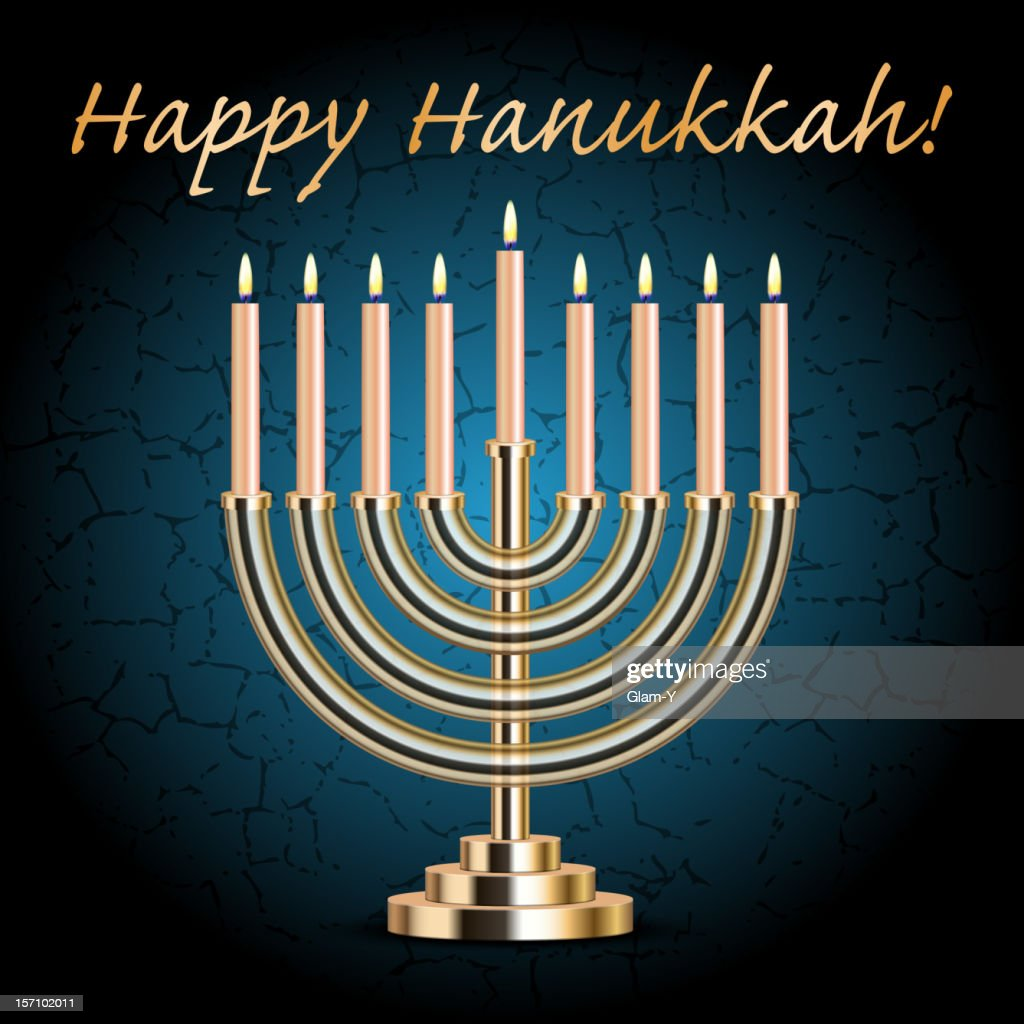 Cartoon image of a menorah saying happy Hanukkah