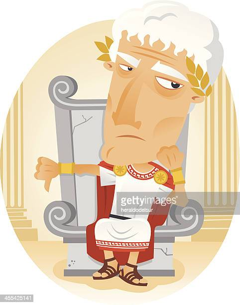 a cartoon image of a roman emperor - thumbs down stock illustrations