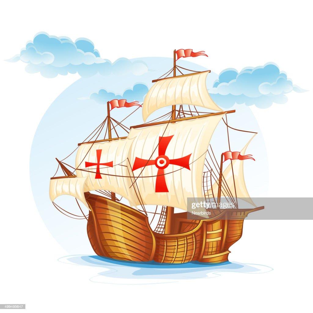 Cartoon image of a sailing ship of Spain XV century