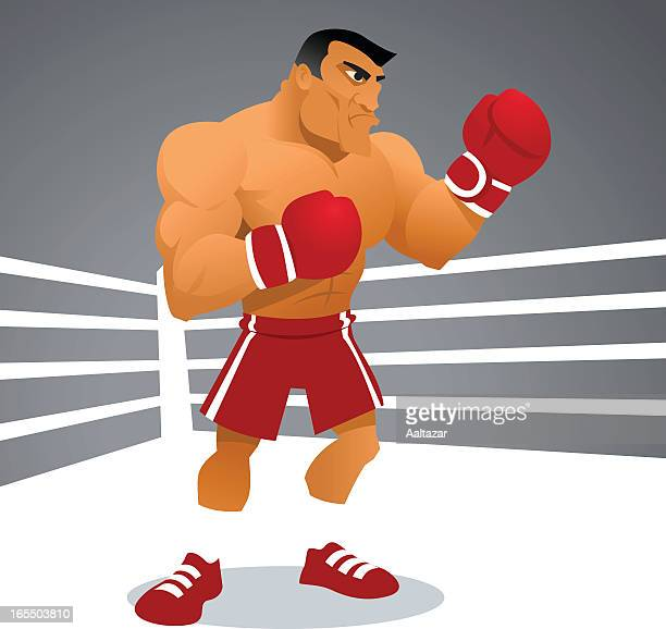 Cartoon image of a tough boxer in a white boxing ring