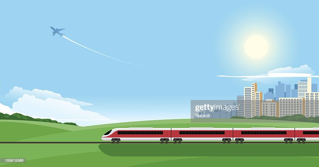 Cartoon image of a train on a journey out of the city : stock illustration