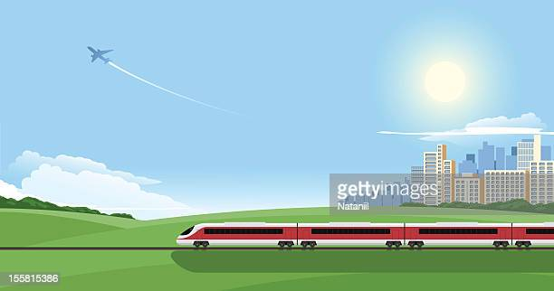 cartoon image of a train on a journey out of the city - train vehicle stock illustrations