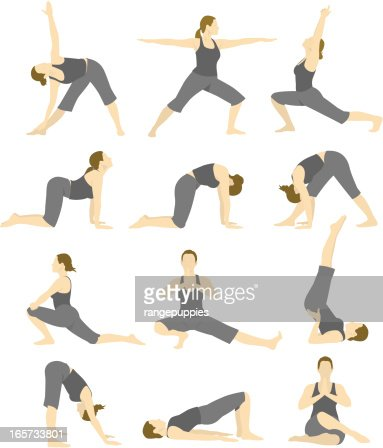 a cartoon image of a woman doing different yoga poses high