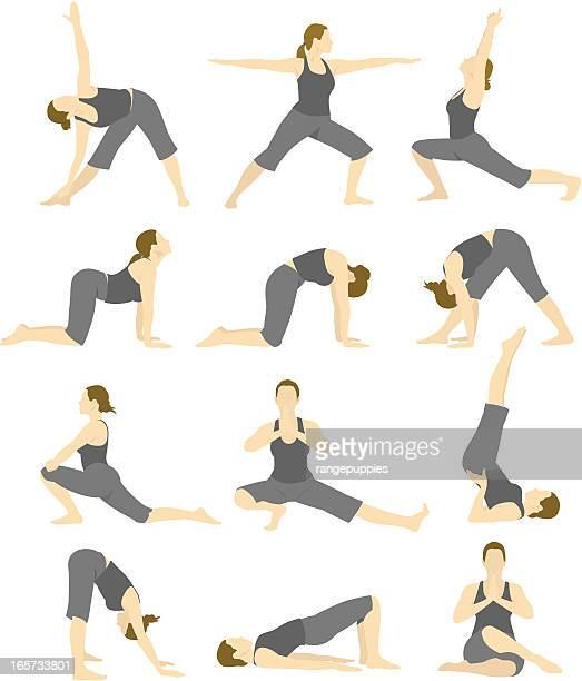 A cartoon image of a woman doing different yoga poses