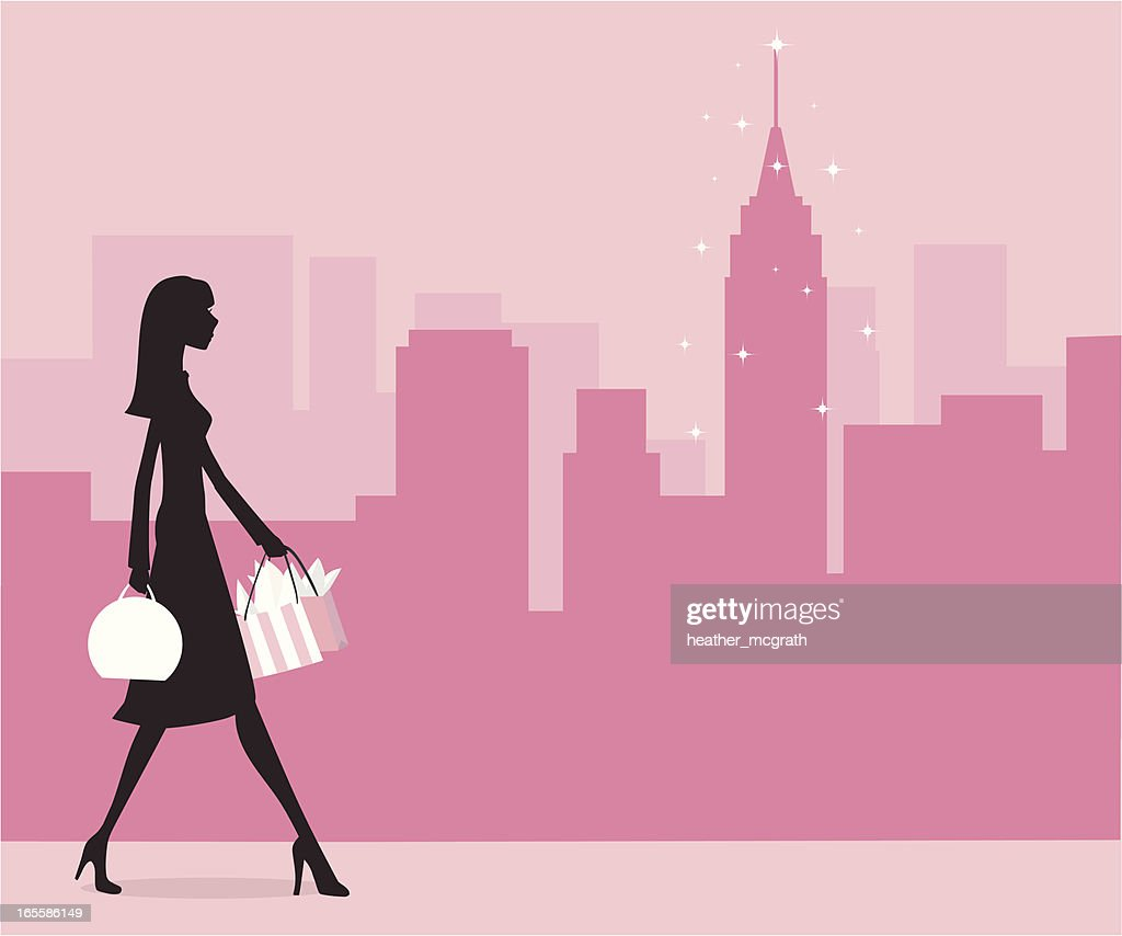 A cartoon image of a woman holding shopping bags
