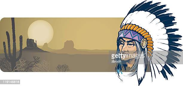 a cartoon image of an indian and a desert - prairie stock illustrations, clip art, cartoons, & icons