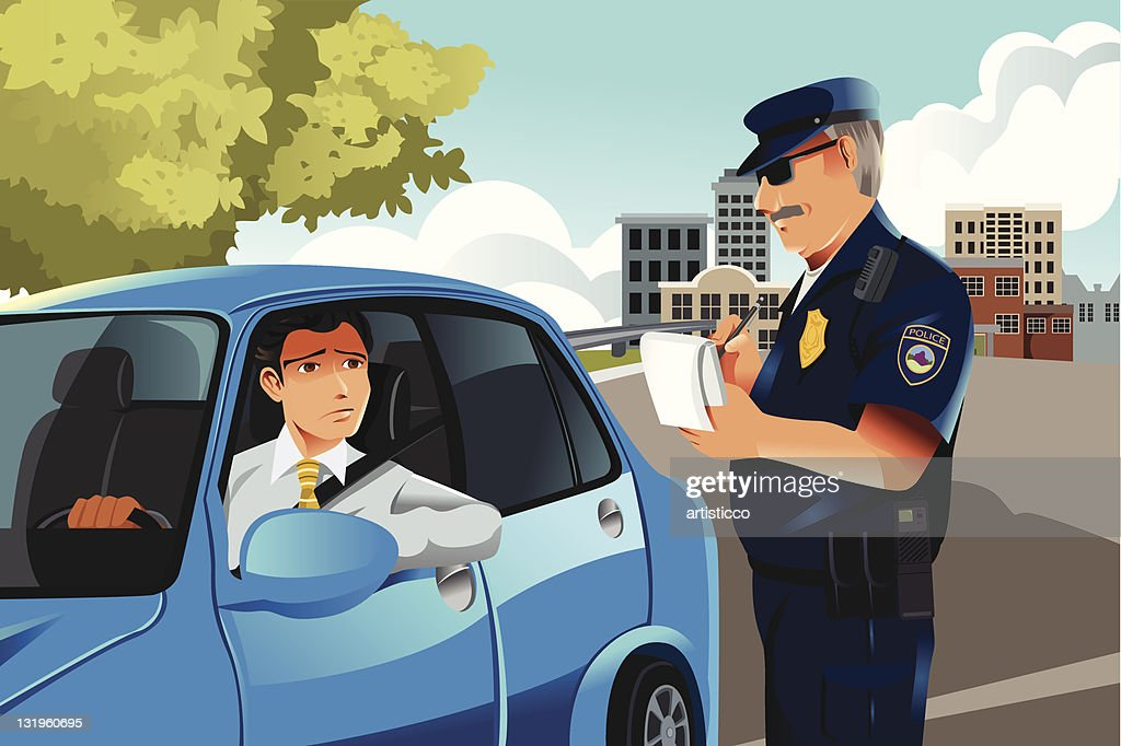 Cartoon image of an officer issuing a traffic violation