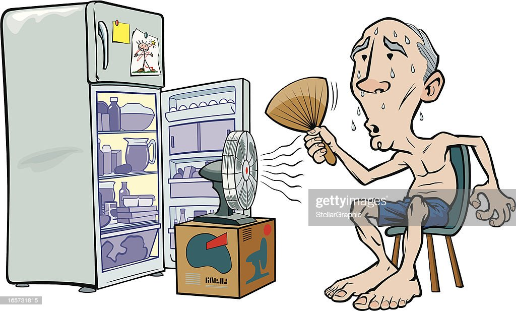 Cartoon image of an old man trying to beat the heat : Stock Illustration
